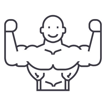 bodybuilder vector line icon, sign, illustration on white background, editable strokes