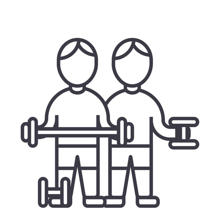bodybuilders,fintess gym,strong practice,weights,workout vector line icon, sign, illustration on white background, editable strokes Illustration