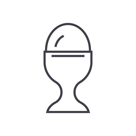boiled egg vector line icon, sign, illustration on white background, editable strokes Imagens - 87221542