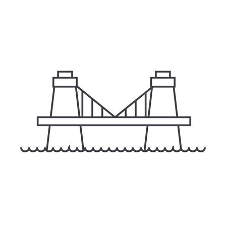 british culture: british bridge vector line icon, sign, illustration on white background, editable strokes