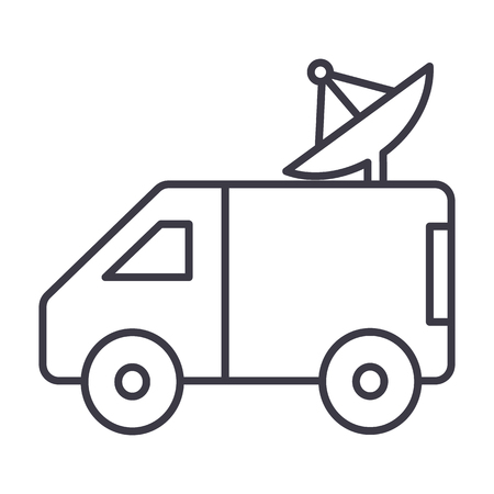 journalism: broadcasting car with satellite dish vector line icon, sign, illustration on white background, editable strokes