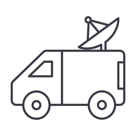 omroep auto met schotelantenne vector lijn pictogram, teken, illustratie op een witte achtergrond, bewerkbare lijnen