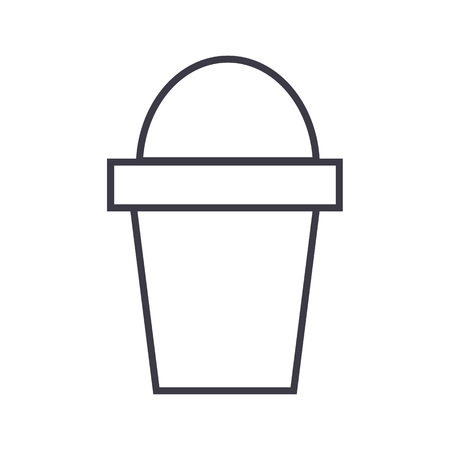 bucket vector line icon, sign, illustration on white background, editable strokes Ilustração