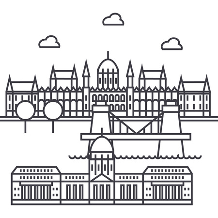 부다페스트, 헝가리 벡터 라인 아이콘, 기호, 흰색 배경에 그림 편집 가능한 획