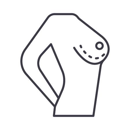유방 수정 벡터 라인 아이콘, 기호, 흰색 배경에 그림 편집 가능한 획 일러스트