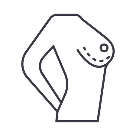 breast correction vector line icon, sign, illustration on white background, editable strokes