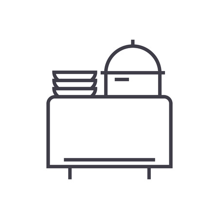 buffet in restaurant vector line icon, sign, illustration on white background, editable strokes