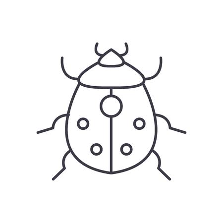 ladybug: bug vector line icon, sign, illustration on white background, editable strokes