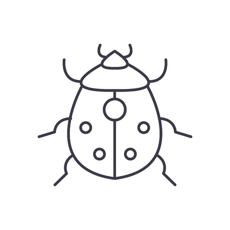bug vector line icon, sign, illustration on white background, editable strokes