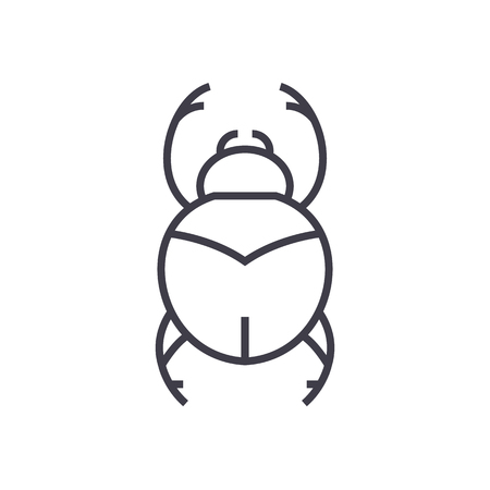 bugs,egypt sign vector line icon, sign, illustration on white background, editable strokes Illustration