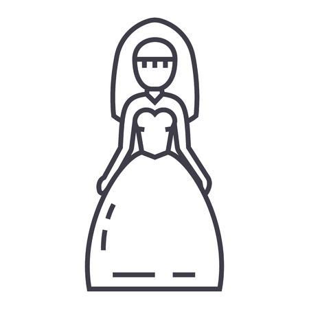 bride sign vector line icon, sign, illustration on white background, editable strokes
