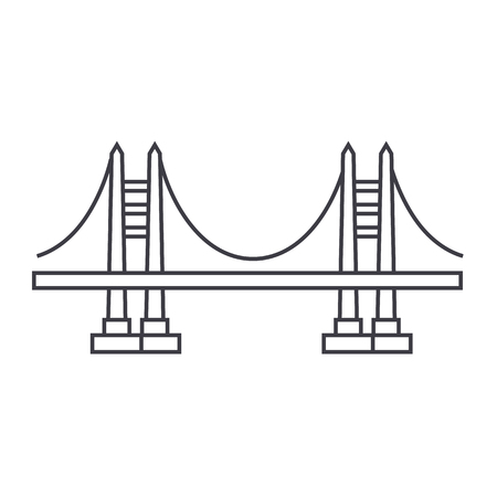 bridge vector line icon, sign, illustration on white background, editable strokes
