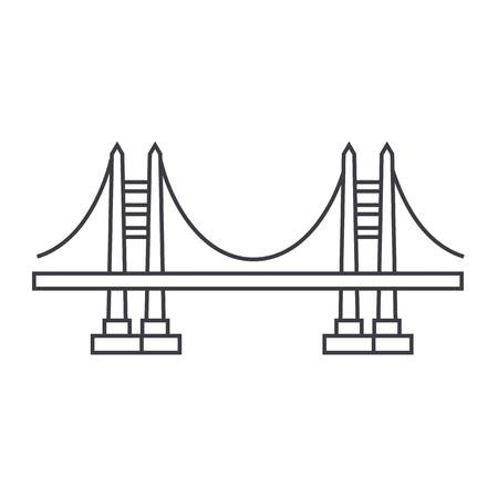brug vector lijn pictogram, teken, illustratie op witte achtergrond, bewerkbare lijnen Stock Illustratie
