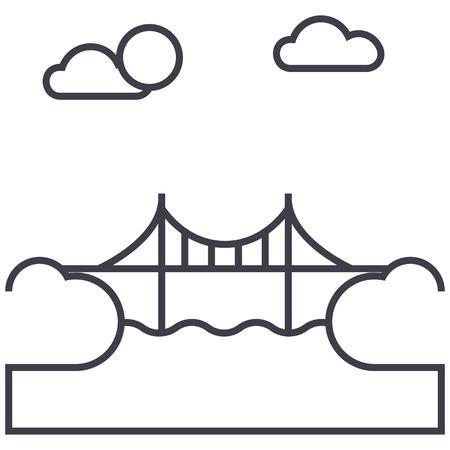 橋イラスト ベクトル線アイコン, サイン, 白い背景に、編集可能なストロークの図