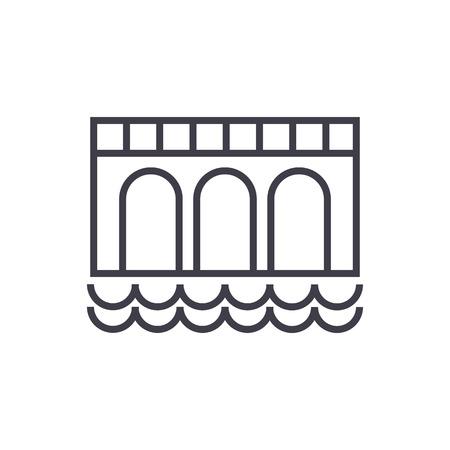 橋の記号ベクトル線のアイコン, サイン, 白い背景に、編集可能なストロークの図