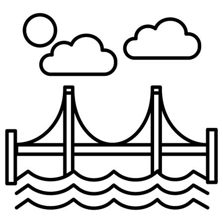 ブリッジ、サンフランシスコ ベクトル線のアイコン, サイン, 白い背景に、編集可能なストロークの図  イラスト・ベクター素材