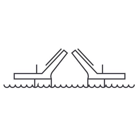 bridges,drawbridges vector line icon, sign, illustration on white background, editable strokes