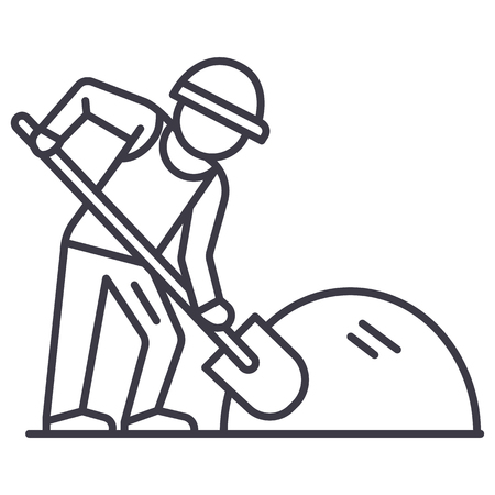 builder working with shovel vector line icon, sign, illustration on white background, editable strokes