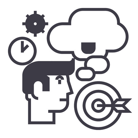 business idea,brainstorm,target goal, time, thinking man vector line icon, sign, illustration on white background, editable strokes
