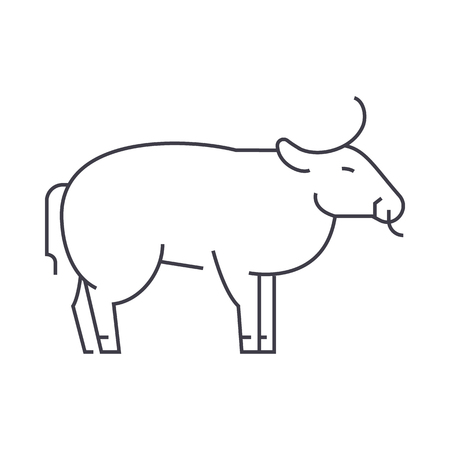 bull vector line icon, sign, illustration on white background, editable strokes