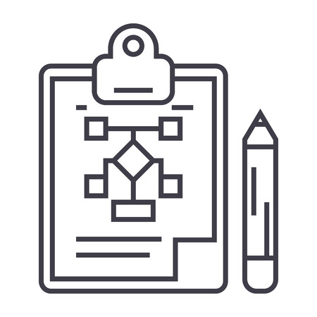 business plan,pencil,clipboard vector line icon, sign, illustration on white background, editable strokes Ilustrace
