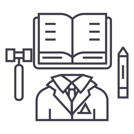 business law,open book vector line icon, sign, illustration on white background, editable strokes