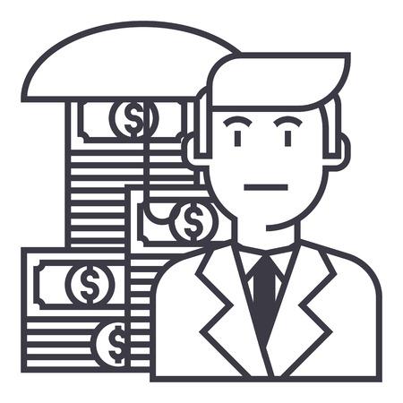 business, money insurance vector line icon, sign, illustration on white background, editable strokes