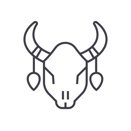 bull skull vector line icon, sign, illustration on white background, editable strokes Illustration