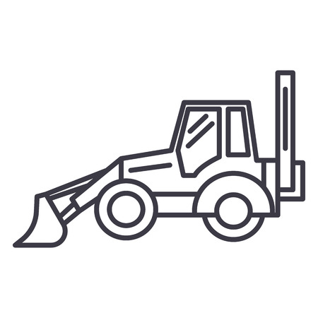 bulldozer vector line icon, sign, illustration on white background, editable strokes