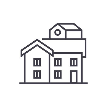 バンガロー ベクトル線アイコン、記号、白い背景に、編集可能なストロークの図  イラスト・ベクター素材