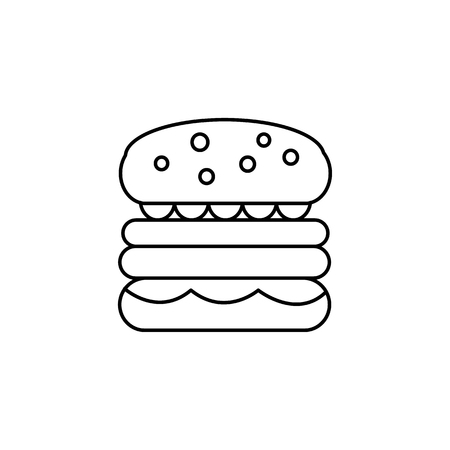 burger sign vector line icon, sign, illustration on white background, editable strokes