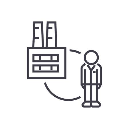 bedrijf aan klant, fabriek tot consument vector lijn pictogram, teken, illustratie op witte achtergrond, bewerkbare lijnen Stock Illustratie