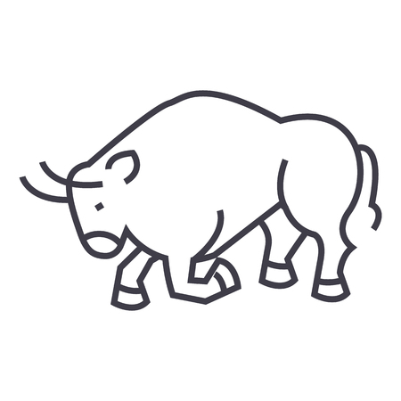 bull fight,spain vector line icon, sign, illustration on white background, editable strokes Illustration