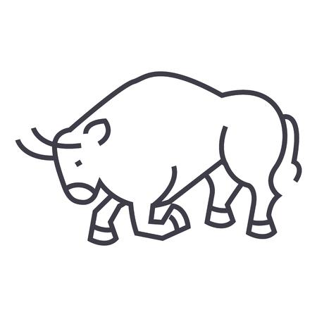 Toro lotta, icona linea vettoriale di Spagna, segno, illustrazione su sfondo bianco, colpi modificabili Archivio Fotografico - 87221613
