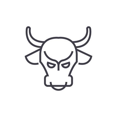 bull market,stock market,bullish vector line icon, sign, illustration on white background, editable strokes Иллюстрация