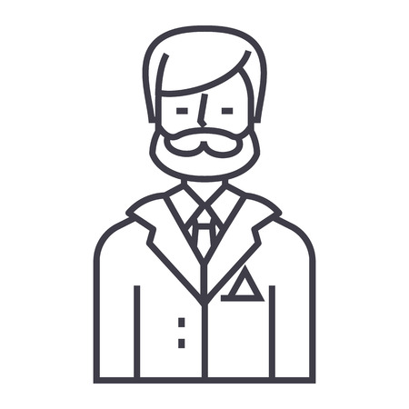 businessman,business lawyer,legal adviser vector line icon, sign, illustration on white background, editable strokes