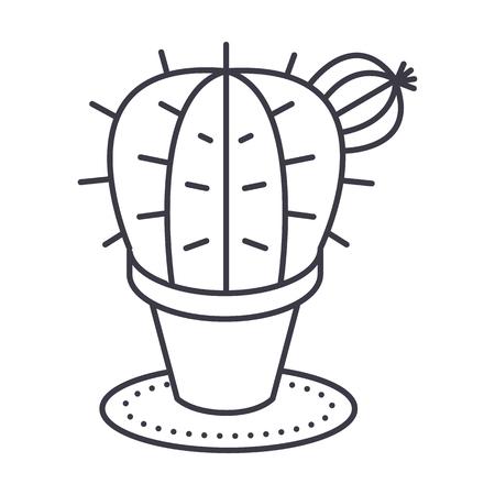 cactus vector line icon, sign, illustration on white background, editable strokes Иллюстрация