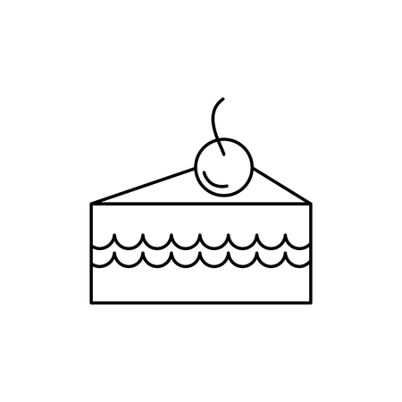 cake slice with cherry vector line icon, sign, illustration on white background, editable strokes