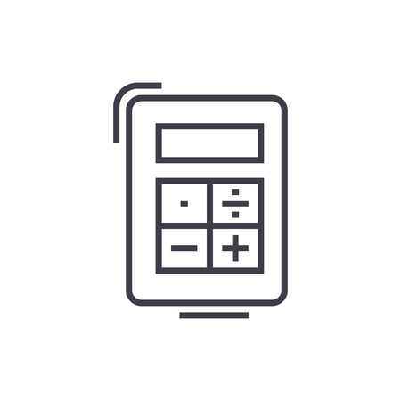 calculator vector line icon, sign, illustration on white background, editable strokes Illustration