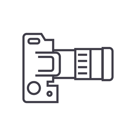 camera dslr, top view vector line icon, sign, illustration on white background, editable strokes