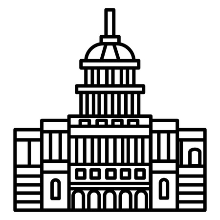 capitol, usa vector line icon, sign, illustration on white background, editable strokes Illustration