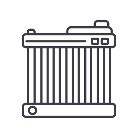 car battery vector line icon, sign, illustration on white background, editable strokes