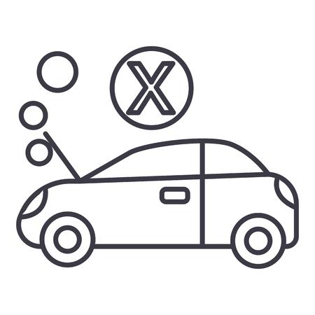 車が故障した、白い背景、編集可能なストロークのベクトル線アイコン、記号、イラスト 写真素材 - 87221654