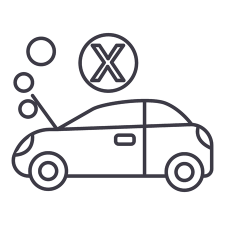 car broke vector line icon, sign, illustration on white background, editable strokes