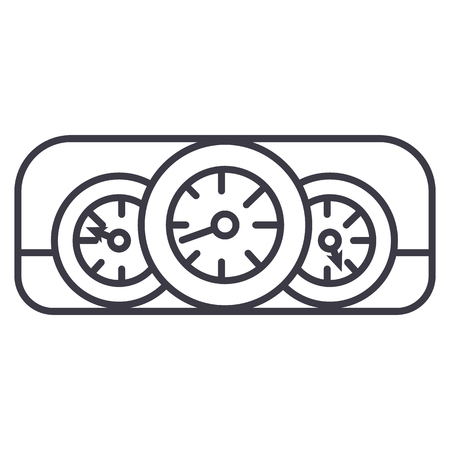 car dashboard  vector line icon, sign, illustration on white background, editable strokes Illustration