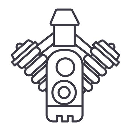 자동차 엔진 벡터 라인 아이콘, 기호, 흰색 배경에 그림 편집 가능한 획