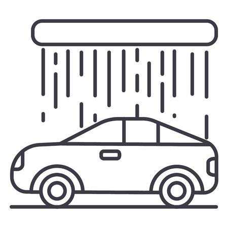 auto wassen vector lijn pictogram, teken, illustratie op een witte achtergrond, bewerkbare streken Stock Illustratie