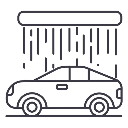 car wash vector line icon, sign, illustration on white background, editable strokes