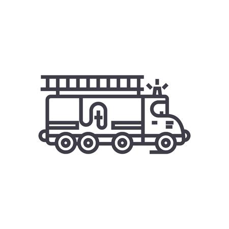 auto brandweerwagen vector lijn pictogram, teken, illustratie op witte achtergrond, bewerkbare lijnen