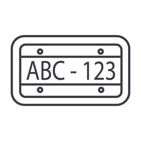 auto nummer vector lijn pictogram, teken, illustratie op witte achtergrond, bewerkbare lijnen Stock Illustratie